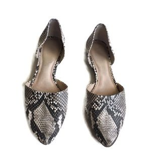 Vince Camuto D'orsay Snakeskin Print Leather Flats